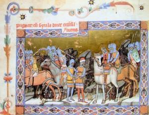 Cronica pictată de la Viena: regele Ștefan îl capturează în 1003 pe Geula cel Tânăr.