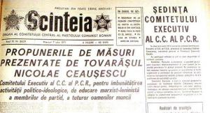 """""""Propunerile de masuri..."""" ale lui Ceausescu, publicate pe prima pagina de ziarul """"Scanteia"""""""