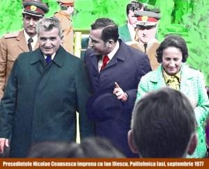 Ion Iliescu si Nicolae Ceausescu la Politehnica Iasi septembrie 1977
