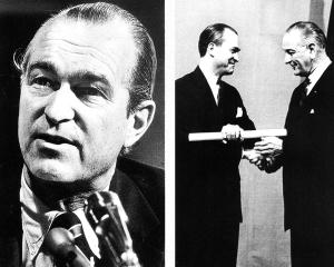 Richard Helms in fata comisiei senatoriale in 1973 (stanga) si la investirea sa ca director CIA de catre presedintele Lyndon B. Jhonson in 1966 (dreapta)